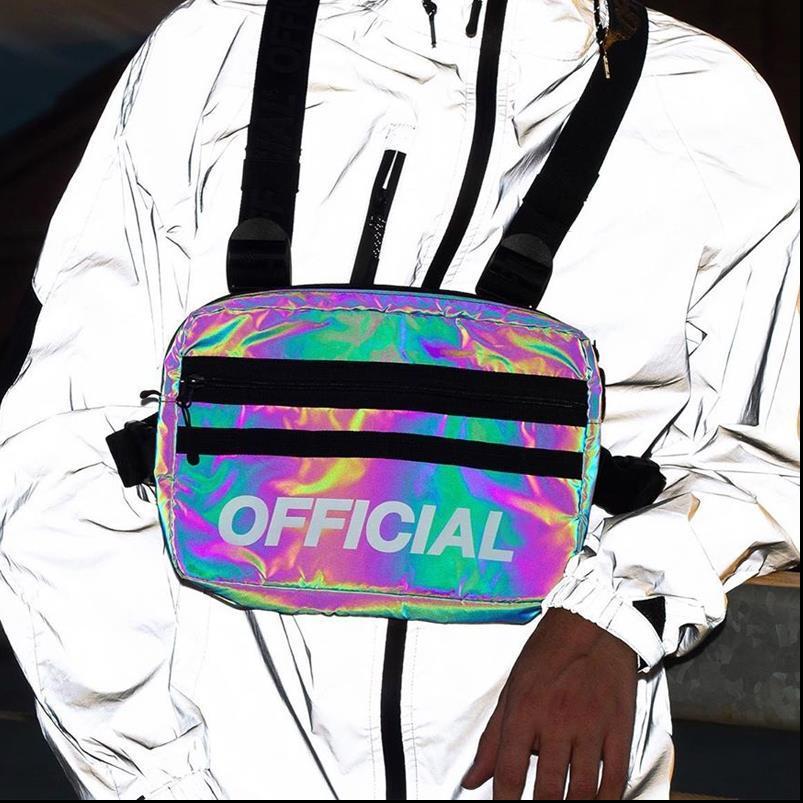 Trendy Reflective Peito Bag Man HipHop Tactical Peito de Utilidade Bolsas Mulheres do partido Streetwear Luz Reflexão Chest Rig Pouch G172