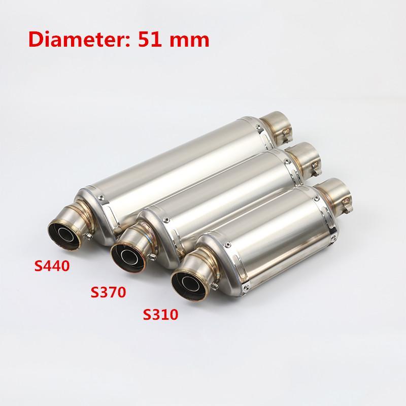 310mm 370mm 440mm Universal en acier inoxydable silencieux d'échappement pour tuyaux, avec un DB-Killer Silp Sur 38-51mm Motorcycle