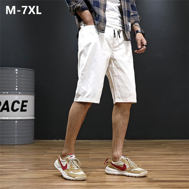Мужские шорты Streetwear Pantalones Hombre Мужчина для мужчин Bermudas Хлопок Белых Черного Хаки Синих краткости лето плюс размер 5XL 6XL 7XL