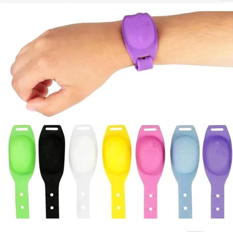 Bracelets en silicone Réfusion de savon liquide Bracelets de bracelet Distributeur de désinfectant de la main Distributeur de surveillance portable Distributeur de désinfectant gel LSK1189