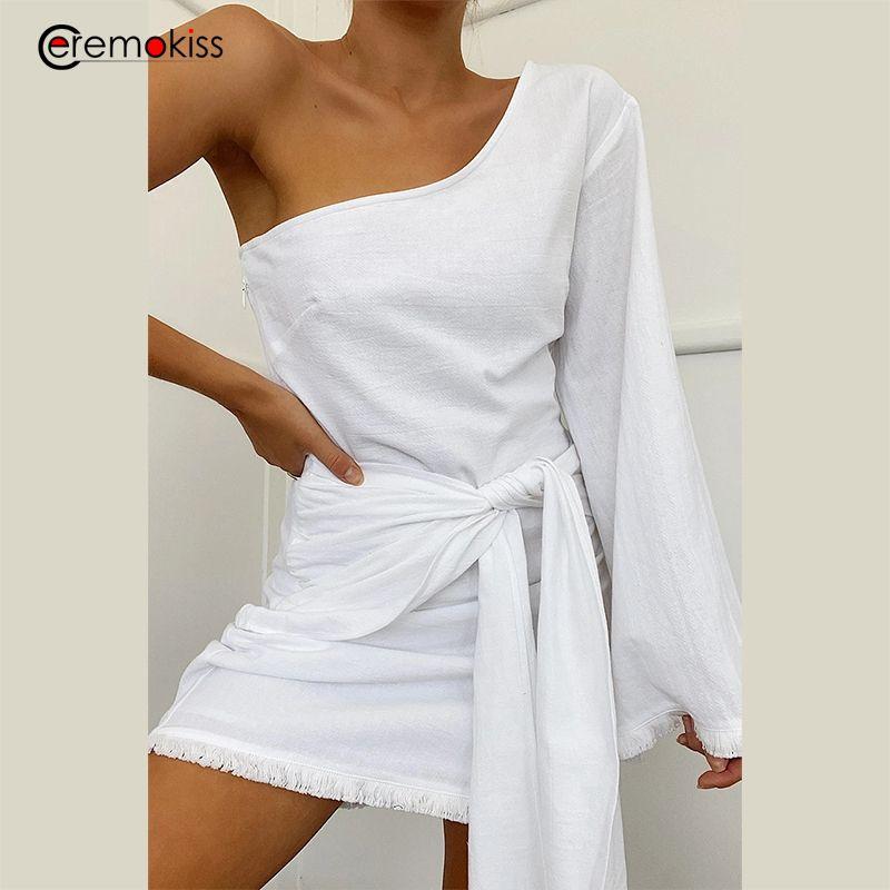 Robe sexy Ceremokiss été femme blanche une épaule Jupettes Bandage Backless Robes Mini Club Party Dress Femme Vestidos