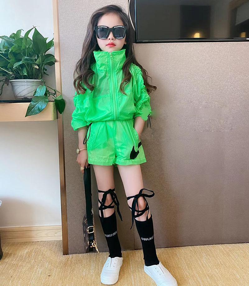 Meninas do verão roupas de proteção solar Define Crianças Moda hoddies + Shorts 2pcs Fatos para o bebé Crianças Suit Jogging Casual