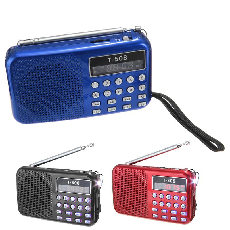 T508 Mini Portatif LED Işık Stereo FM Radyo MP3 Müzik Çalar TF USB Hoparlör
