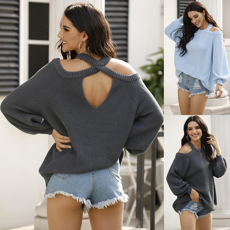 WEPBEL Outono Inverno Mulheres Voltar Coração oco camisola do pescoço de grupo Halter Off-the-ombro camisola Feminino Top Pullover