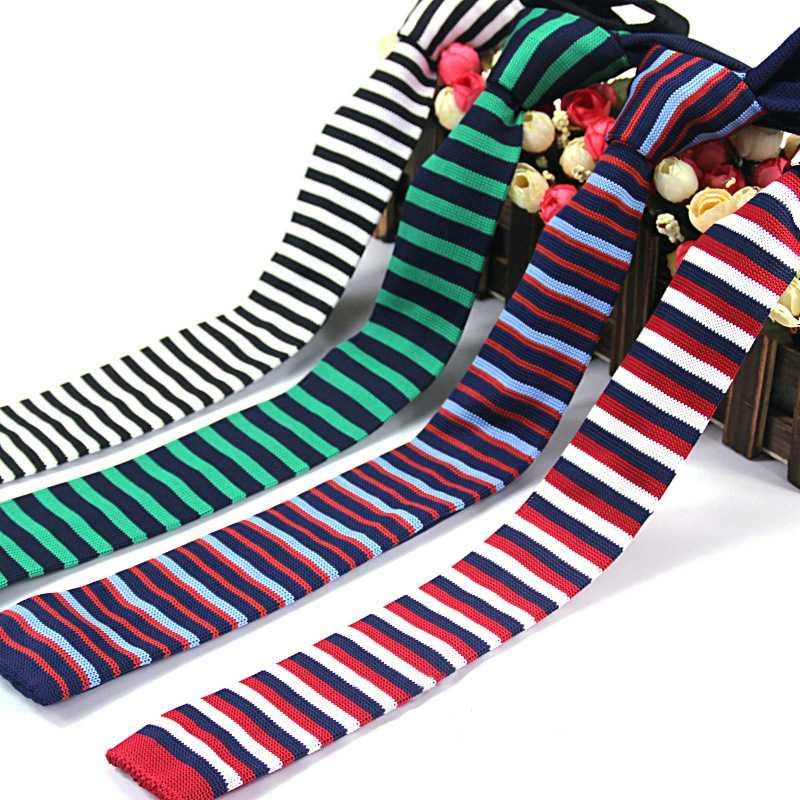 New Arrival 2020 Popular Slim Men Ties 6 Cm Knitted Ties Stripped Navy White Red Blue Green Light Blue Yellow Pink