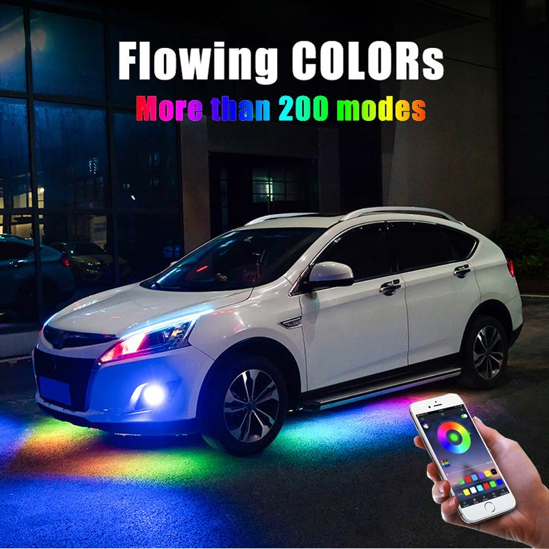 4PCS 12V IP65 بلوتوث التطبيقات تحكم تتدفق اللون RGB LED قطاع السيارات تحت 90 120CM أنبوب Underglow نديربودي نظام ضوء النيون