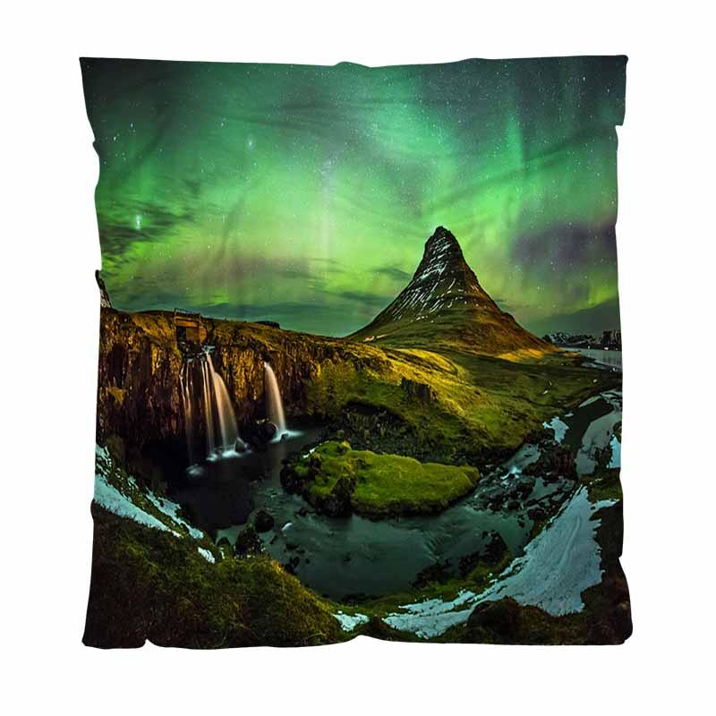 Miglior Quailty Coperta coperta del tiro, Borealis A monte Kirkjufell Islanda, Bambino, Adulto, coperta d'aria condizionata Quilt