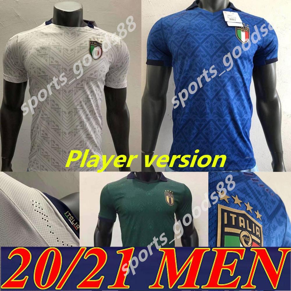 2020 2021 Itália Soccer Jersey Version Version Homens Casa Away Barella Sensi Insigne 20 21 Renascimento Chiellini Belotti Futebol Camisas 06