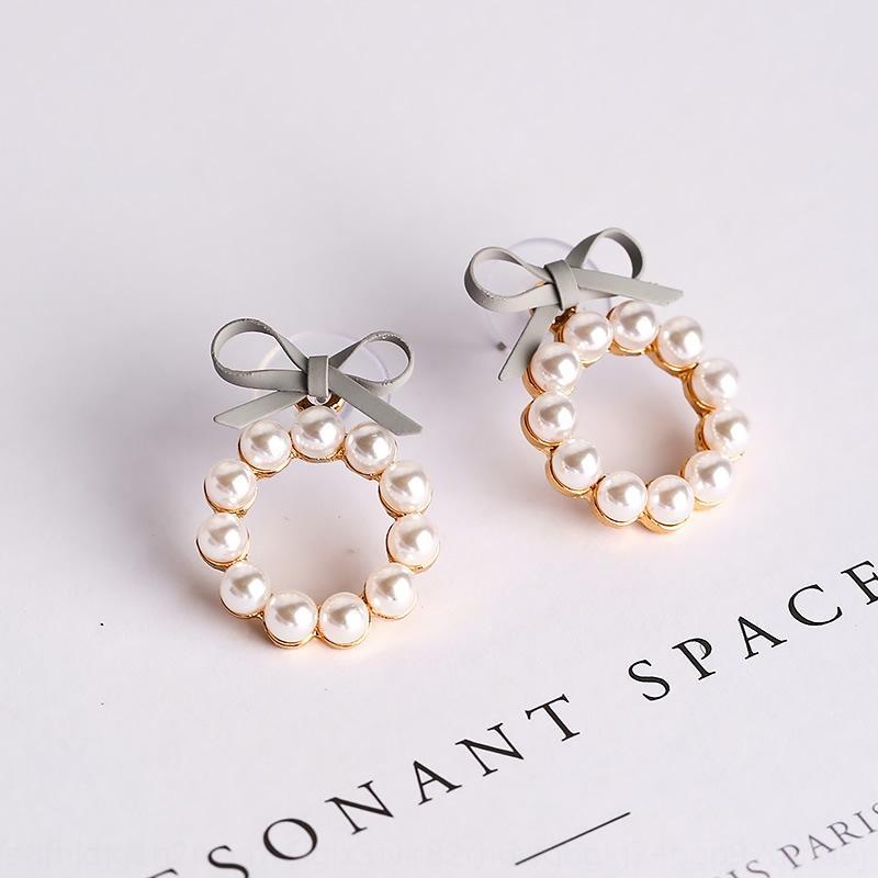 Ddobm primavera e l'estate nuova perla geometrica chic piccoli orecchini carino perla della farfalla ragazza arco orecchini rotondi disegno femminile