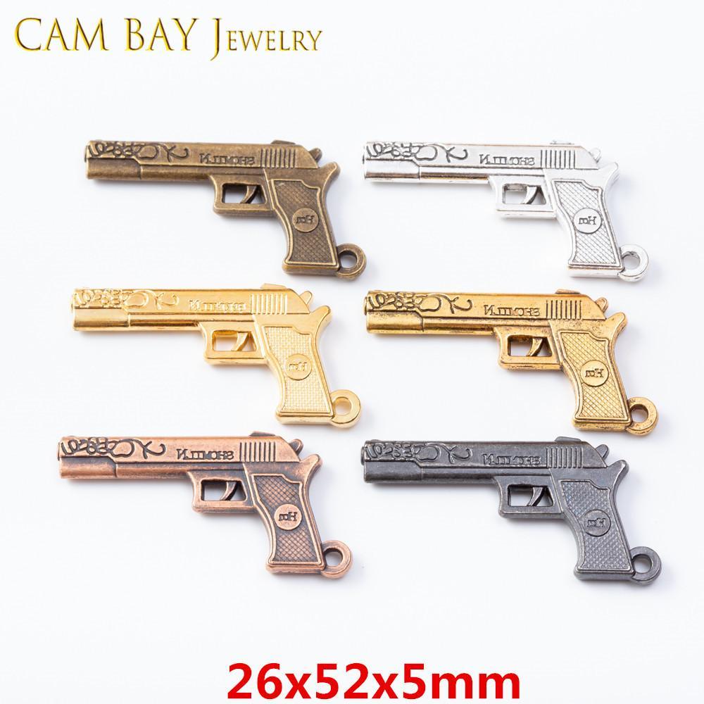 20шт 26 * 52mm сплава Gun Подвески Подвески Металл шарма для DIY ожерелья браслеты ювелирных изделий Изготовление ключей кольцо ручной работы Crafts