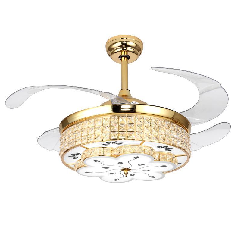 Кристалл потолочного вентилятор с золотыми серебряным цветом 36 42 дюймов роскоши свет поклонники лампы современным вентилятором для дома ventilador де Techo огней