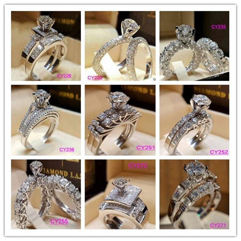Anillo de cristal nueva manera femenino de compromiso de la boda de la CZ del oro blanco del color Borrar circón anillos para los regalos de muchachas de las mujeres 9 diseños SJ