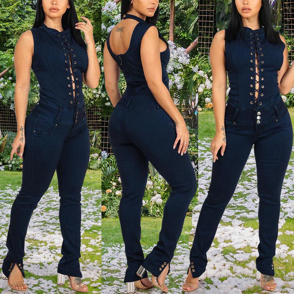 8703 Новой мода джинсовых Приталенного похудение Грудь открытой спина Мозоль Цельные джинсы с длинным рукавом клуб Rompers Bodycon Беговой Femme 209