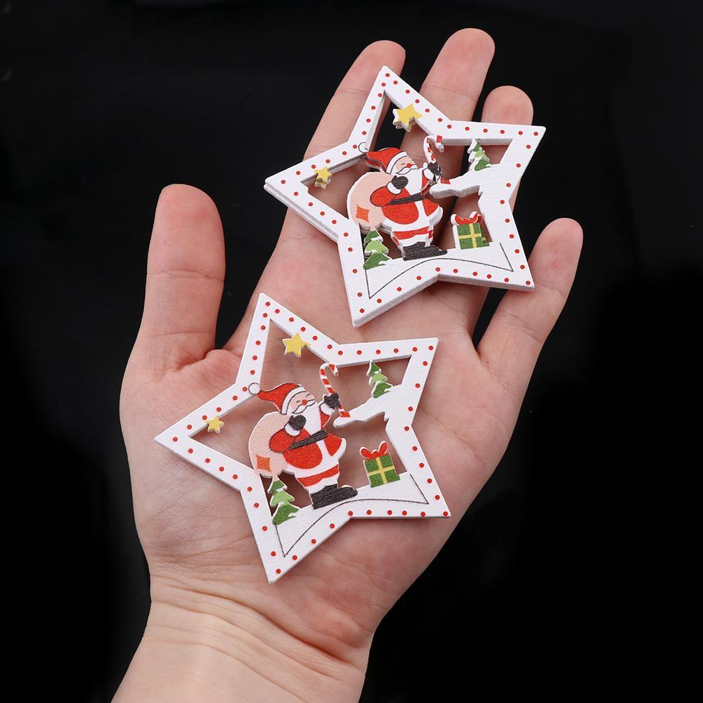10pcs de madera DIY del árbol de navidad Ornamentos colgantes colgante Campanas de Santa Claus Año Nuevo Decoración de Navidad Decoración para el hogar