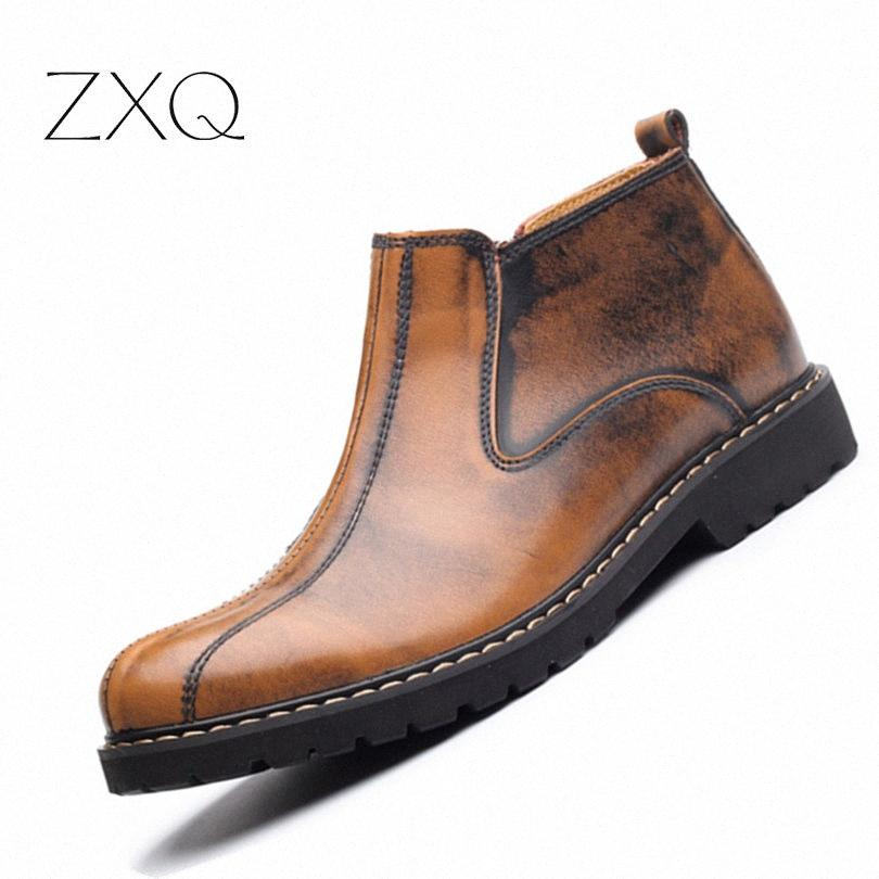 NUEVOS 2017 Otoño Invierno Hombres tobillo botas partido de la vaca hombres del cuero impermeable Ocio Inglaterra retro Hombres Botas Botas verdes zapatos lindos g6g9 #