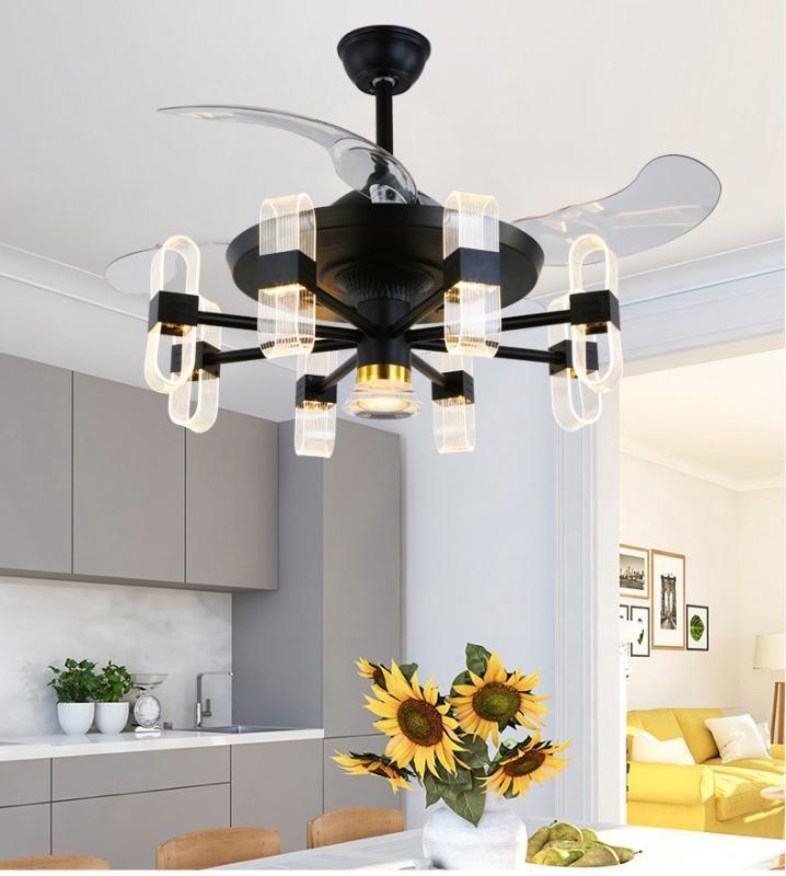Светодиодные лампы Потолочные вентиляторы Европейский Стиль Столовая Гостиная Потолочные вентиляторы Стильный Встроенный Stealth Вентилятор Классический