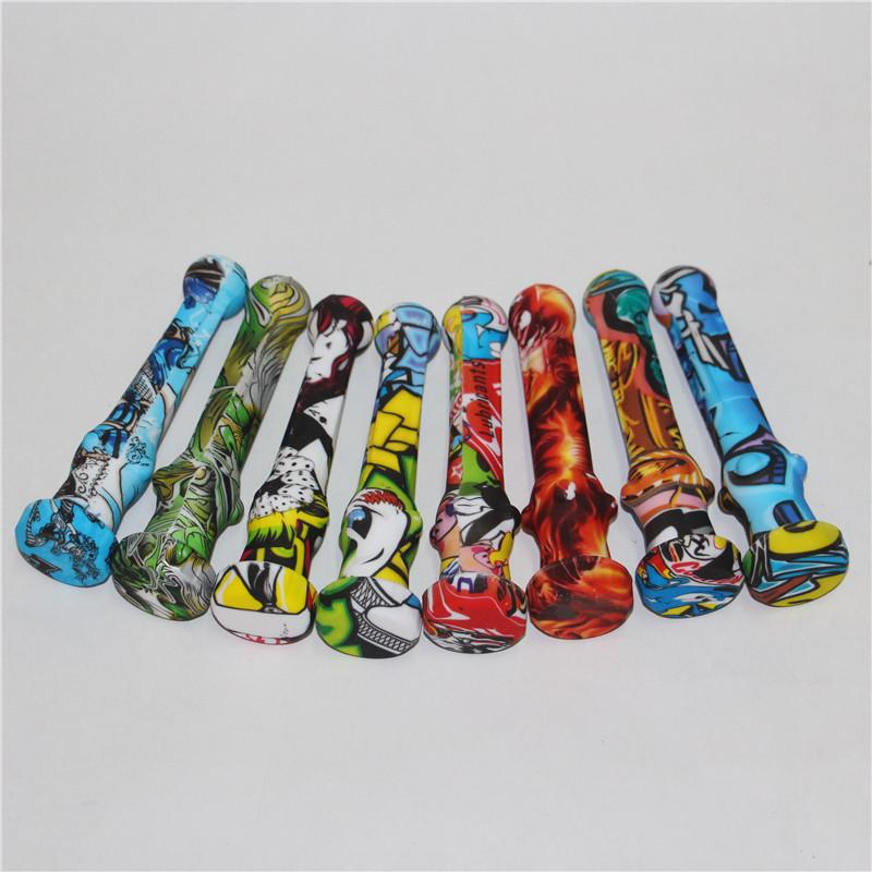 Kit de coletor de néctar de silicone colorido de fumar com 14mm ponta de titânio prego tampões de silicone plataformas de óleo concentrar canutas de silico tubulações
