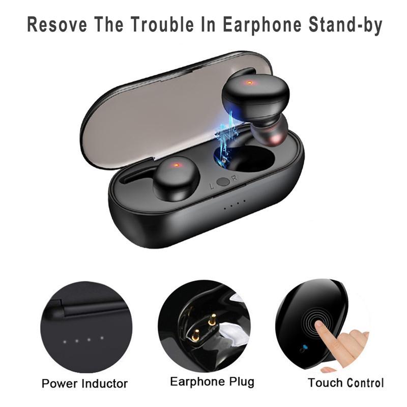 Y30 TWS Bluetooth 5.0 Auricolari wireless In-Ear Riduzione del rumore Riduzione del rumore Auricolari stereo per il gioco del telefono Call Sport Cuffie con scatola di ricarica