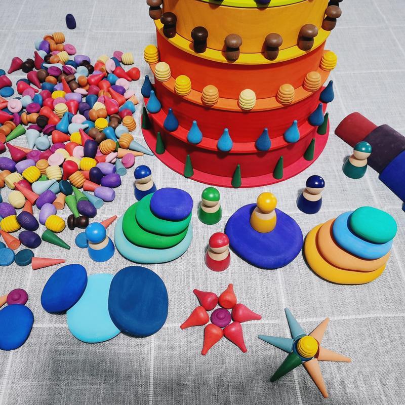 Bambini Giocattoli di legno Arcobaleno Block allentato parti del fungo a nido d'ape goccioline albero Coni Coni Building Blocks creativo per bambini T200722