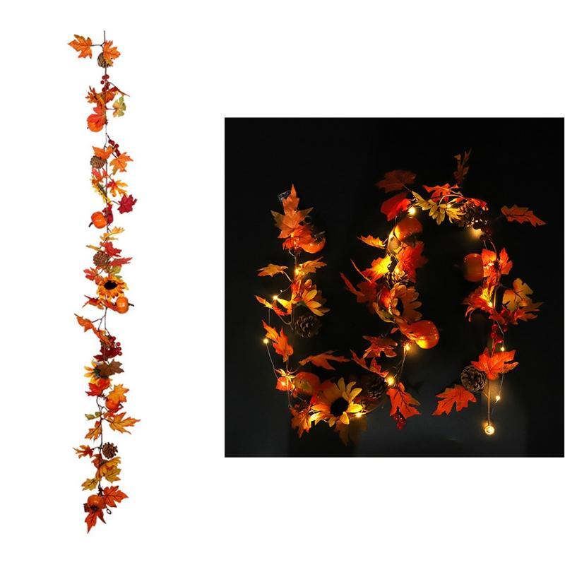 LED iluminado de 1,8 m La caída del otoño artificial calabaza Garland puerta de la ventana de Acción de Gracias Decoración