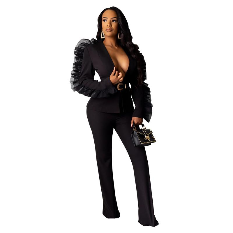 Moda Kadın İki Adet Pantolon Hırka Mantar Tok Renk İki Parça Setler Seksi İnce Bayan Ceket Tasarımcı