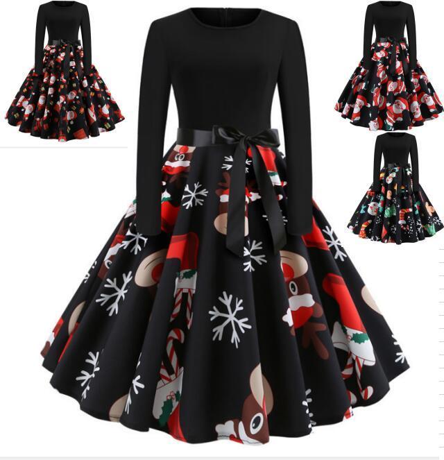 4 컬러 S-XXL 여성의 빈티지 프린트 긴 소매 크리스마스 크리스마스 파티 - 라인 빈티지 드레스 - 라인 파티 드레스 플러스 사이즈 58310774430197