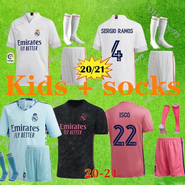 goalkeeper 20 21 criança do Real Madrid # 7 PERIGO # 9 BENZEMA casa de Futebol 2020 Madrid Football camisas dos miúdos kit + meias