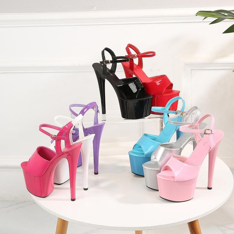 Afficher artefact de marche Modèle haut Chaussures à talons Sandales à talons minces 13-17cm Sexy Noir Plate-forme de haine Sky Chaussures à talons hauts-été Y200620