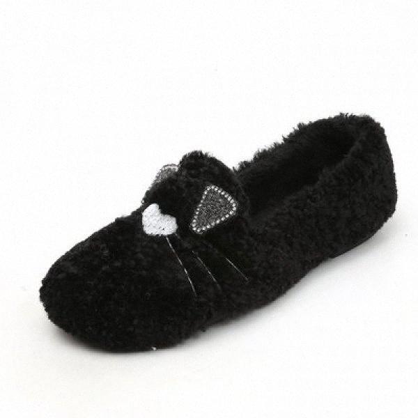 2020 otoño y del invierno de la felpa de dibujos animados calientes zapatos solo diario de mujer salvaje, además de terciopelo tamaño extra grande de zapatos planos de las señoras de los zapatos de los holgazanes For Me M893 #