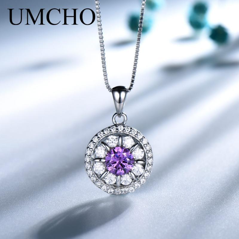 UMCHO Solid 925 Sterling Silver Jewelry Ametista Collana della pietra preziosa per la ragazza bel regalo