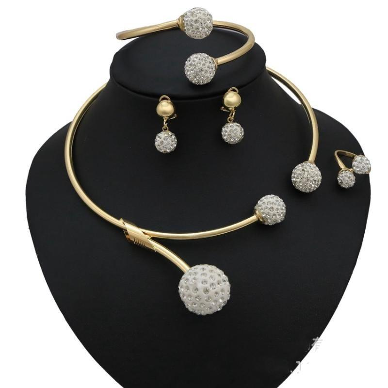 Mode, Afrikanischer Schmuck-Sets Marke Dubai Gold-Farbe Kristallschmucksachen Großhandel Brautzusätze nigerian Hochzeit