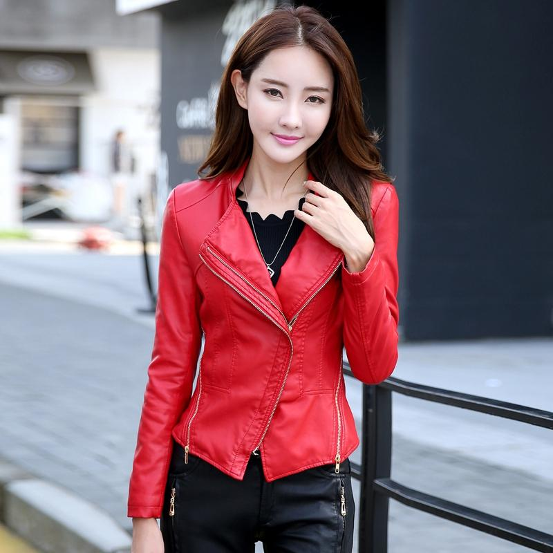 Autumn punk outfits Women's Short Paragraph Slim Small Jacket Ms. Leather Jacket Women Black Red Motorcycle Jackets And Coats