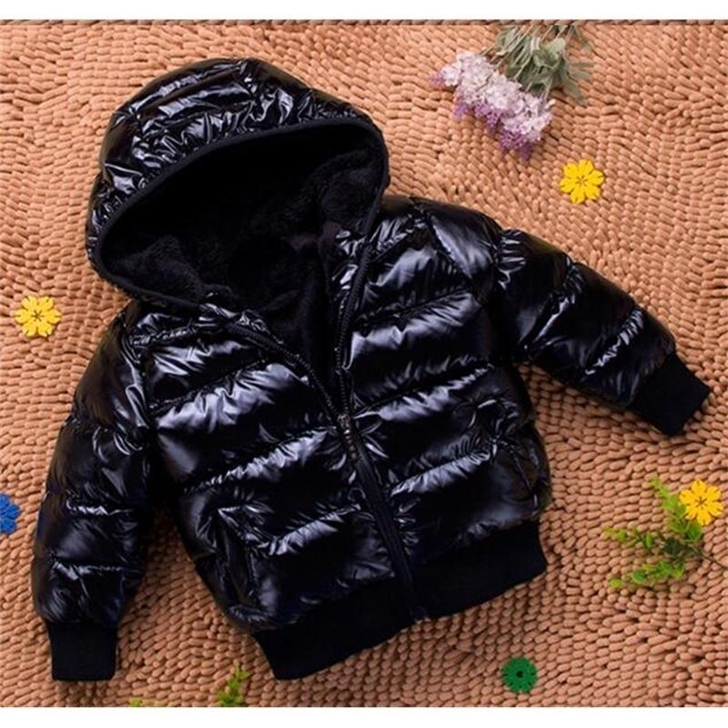Детские пуховики младенец хлопок-ватник Детского зимние сгущают с капюшоном Solid Color Мальчики Outwear Y200901