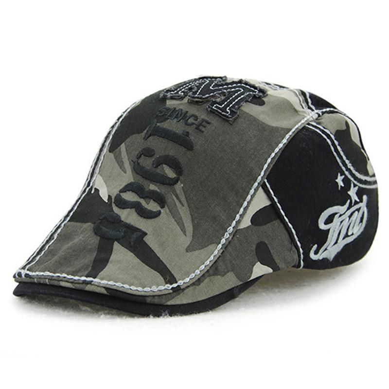 Chapeau d'été respirant en coton délavé Bérets camouflage hommes Taille tête réglable Caps Hip Hop Homme Os Personnalité Langue Cap