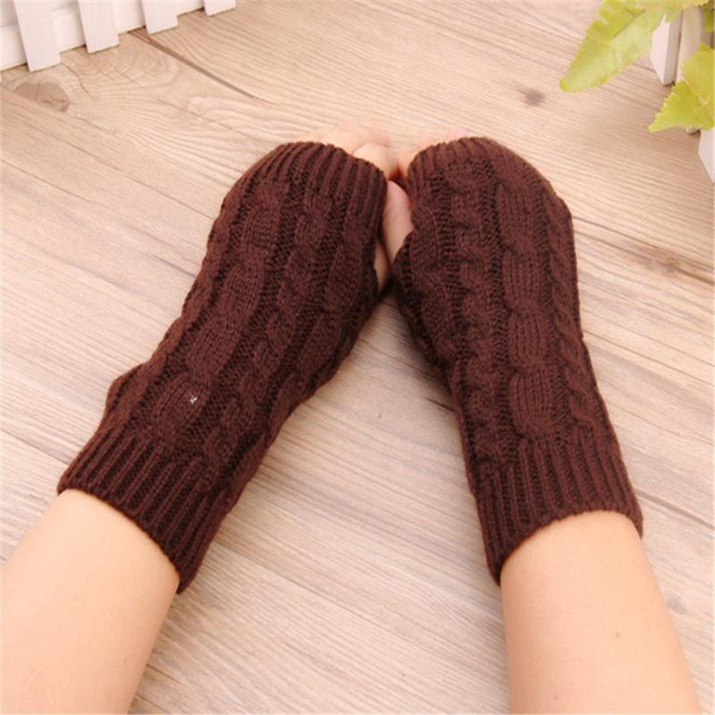 1 paire Femmes Fingerless Mittens Stripe Twist solide Couleur chaud tricot bras long Gants Automne Hiver Manches protecteur de poignet