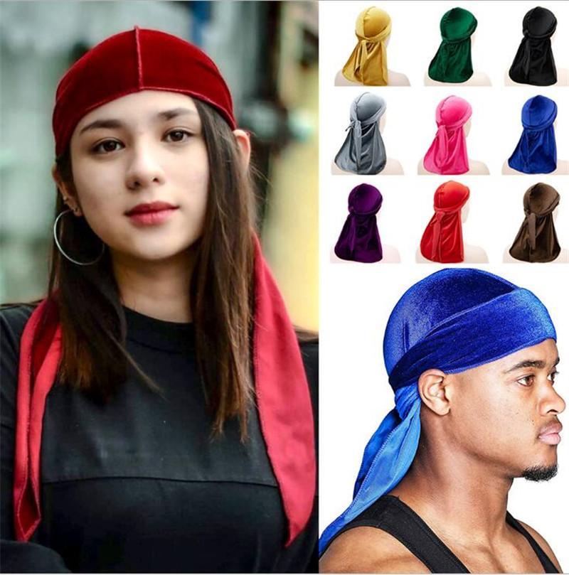 Moda Kadın Kadife Durag Bandana Turban Peruk Erkek Saten Korsan Şapkası Katı Renk Şapkalar Kafa Pigtail Hip Hop Cap Beanie