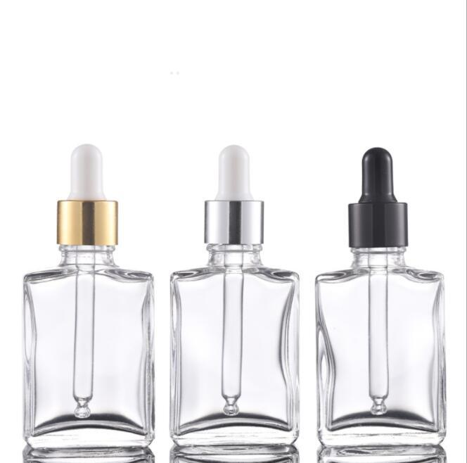 Wholesale 30ml frosted clear black square rectangle empty glass bottles with childproof cap for e liquid essential oil