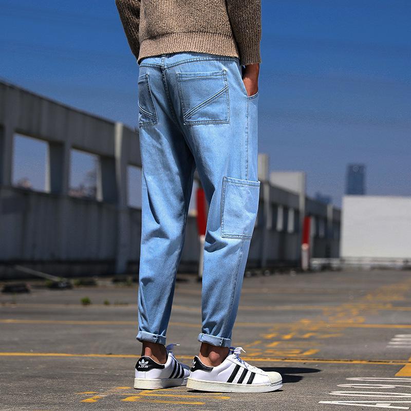 Otoño / invierno Harlan Jeans 2020 nuevos de marca de moda suelta pequeños pantalones largos pies de los hombres clásicos de los pantalones multibolsillos delgada juveniles