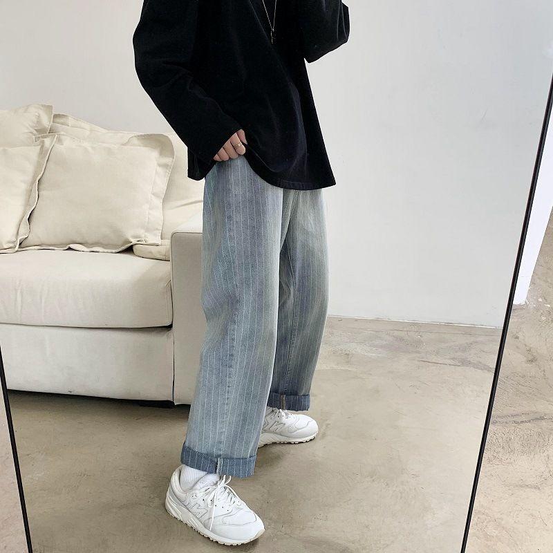 ins de printemps rétro en jean neuf points mâle version coréenne de la tendance des adolescents sauvages droite rayé lâche pantalon à jambe large
