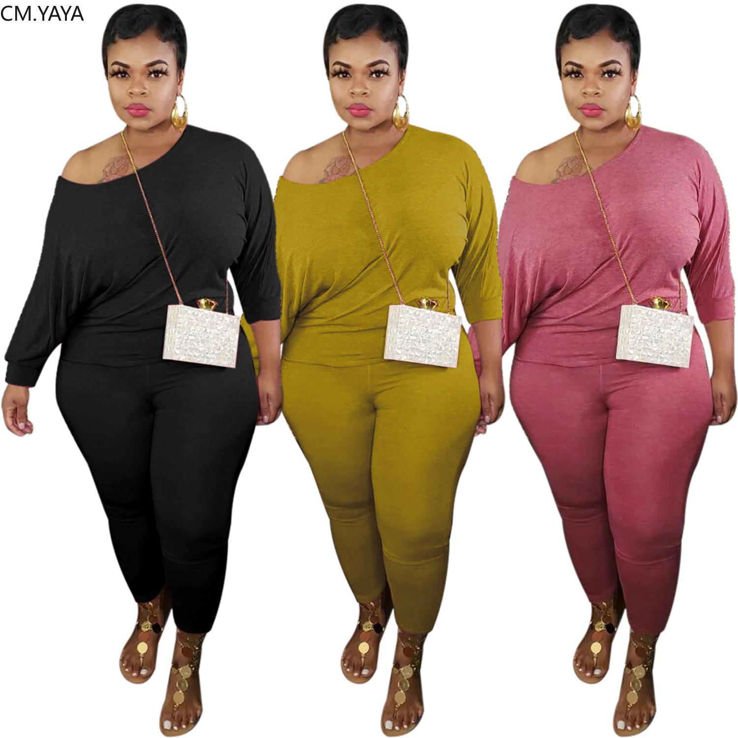 CM.YAYA Plus Size XL-5XL Women Set Two Pieces Set Tracksuit Batwing SLeeve Tee Tops Jogger Sweatpant Suit Outfit Matching Set