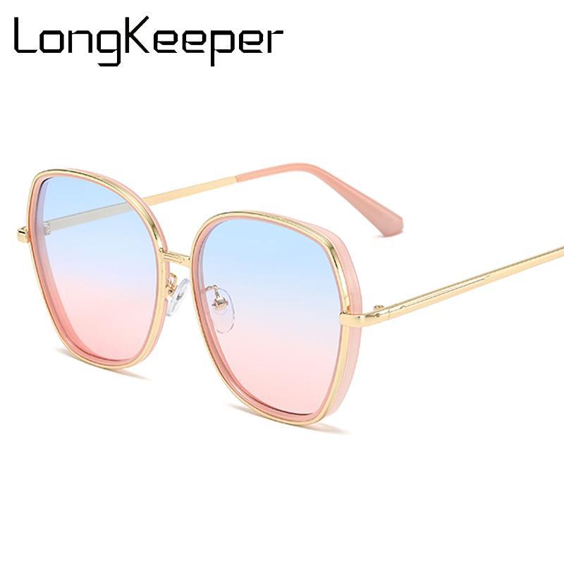 Longkeeper Sol Gafas de sol Mujeres Gafas de gran tamaño de la conducción Marco de gradiente Gafas de metal Mujer Sol 2020 Lujo Big de UV400 Evopv