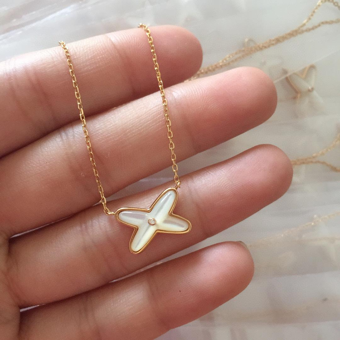 S925 Silver Natural White Fritillaria Cross Necklace X Chakoid Chiba European and American Necklace