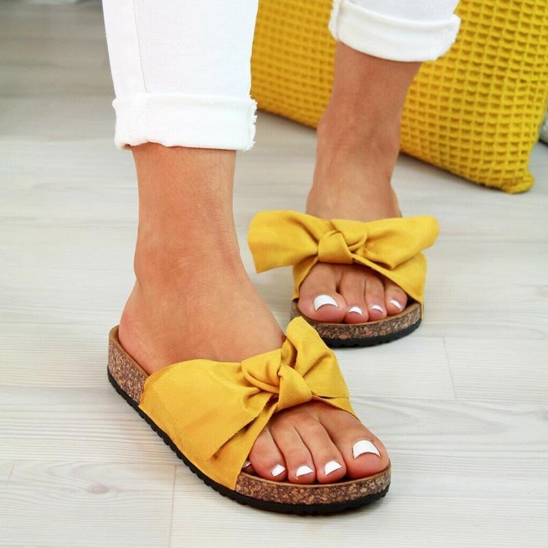 2020 Chaussures femme Sandales de femme Chaussures de plage Slip Bow Le Gladiateur Sandales Femmes d'été Chaussures Sandales plates Femme Taille Plus Y200620