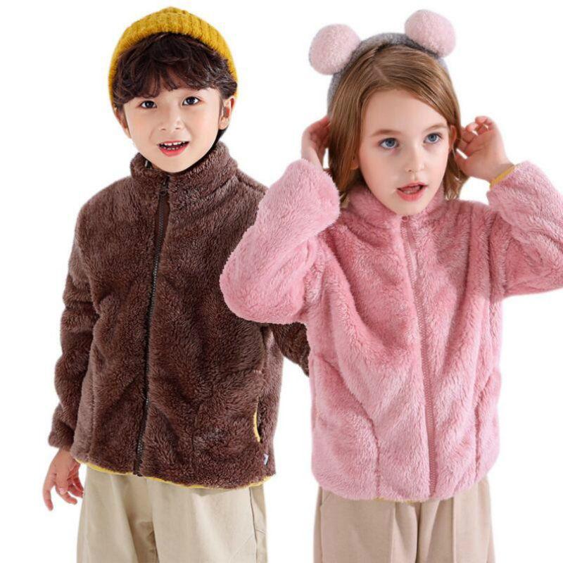 Nouveau 0-6Y d'hiver en peluche garçons Vêtements de bébé fille Vêtements enfants New Born enfants Veste Zip Cardigan nouveau mode doux Vêtement chaud