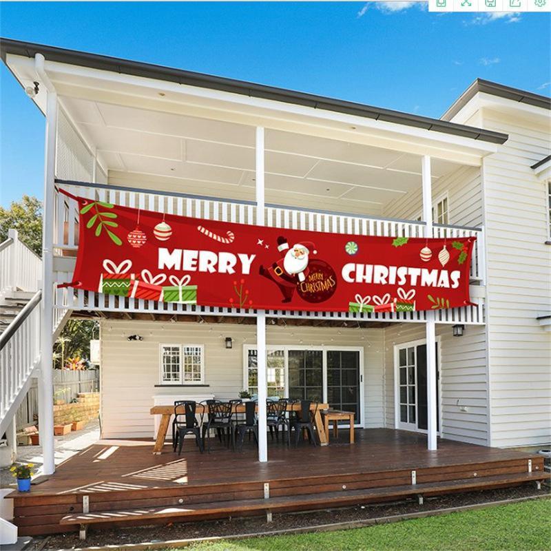 300 * 50см Новый Merry Christmas Баннер Новогодние украшения для дома на открытом воздухе Магазин Баннер Флаг Натяжение Новый год Deocr