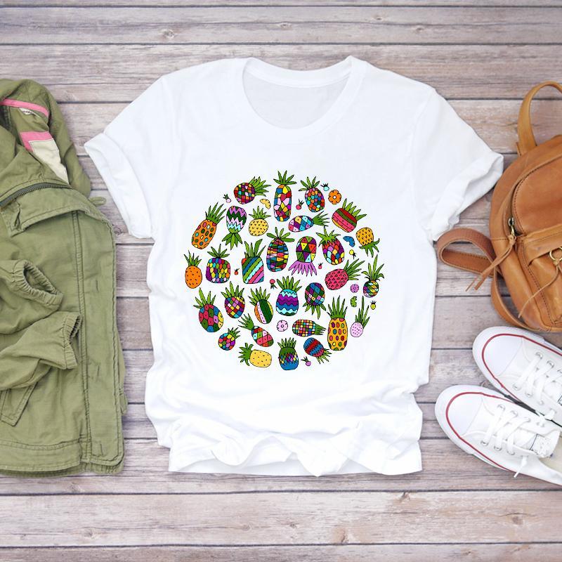 Mulheres 2020 Praia dos desenhos animados manga curta abacaxi Verão shirt Womens T-shirts Parte superior T T-shirt gráfico Feminino Tee