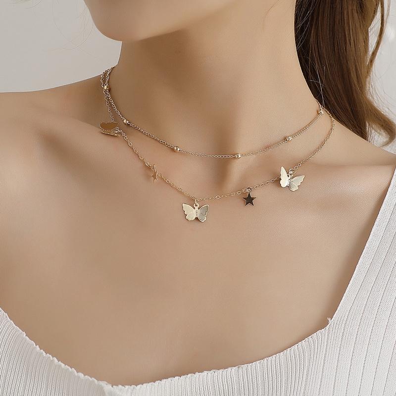 Chic Fashion Cute Star бабочки кулон ожерелье Choker Женщины двухслойные Геометрические бусы цепочки ключицы ожерелье ювелирных изделий