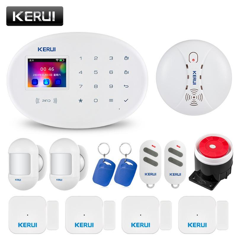 Kerui W20 Wireless WiFi GSM домашней обеспеченностью охранной сигнализации дыма Телефон APP управления 2,4-дюймовый TFT-экран с сенсорной панелью