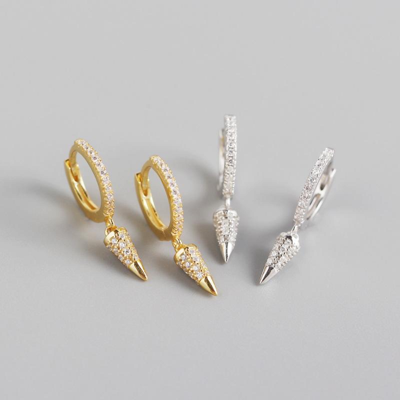 1pair 8,5 milímetros 100% Authentic 925 Sterling Zircon Pico Cone Rivet Hoop Huggie Brincos de jóias finas de TLE1092