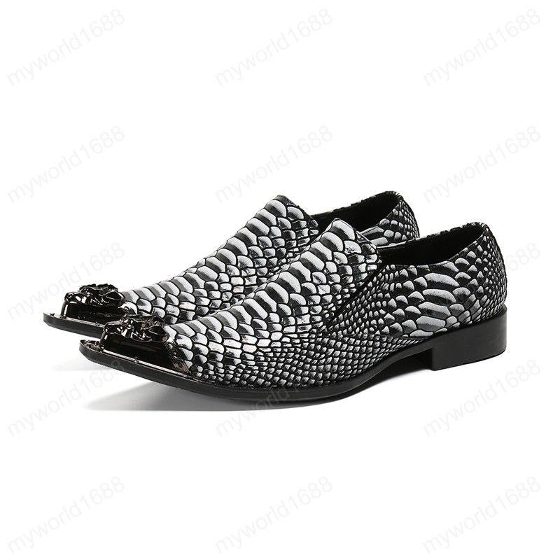 Металл Резной острого носа Плюс Размер Муж партии платье Обуви змеиного шаблон из натуральной кожи Мужской моды обувь